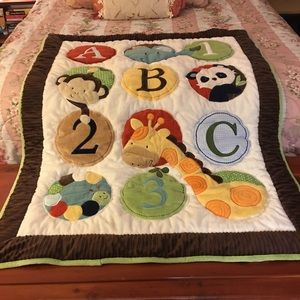 KIDS LINE EMBROIDERED SOFT PLUSH BLANKET 35X44